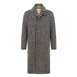 Grey Wool Blended Men's Luxury Coat Isolated on White Background. Modern Long Demi-Season Jacket with Notched Lapels and Front Hand Welt Pockets. Stylish Warm Outwear. Best Classic Outdoor Clothing