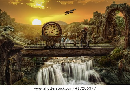 greybeard on the time bridge Concept (Everything is not what it appears, and not vice versa.) Stock photo ©