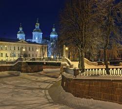 Griboyedov Canal, Krasnogvardeysky Bridge and St. Nicholas Cathedral in St. Petersburg