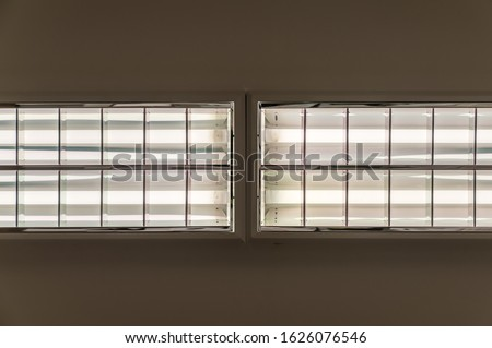 Grid light with fluorescent tubes on the ceiling of an office for uniform lighting