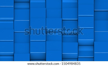 Grid of blue cubes in a randomized pattern. Medium shot. 3D computer generated background image.