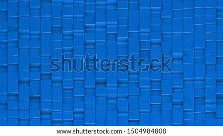 Grid of blue cubes in a randomized pattern. Wide shot. 3D computer generated background image.
