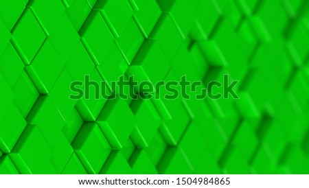 Grid of green cubes in a randomized pattern. Medium shot. 3D computer generated background image.