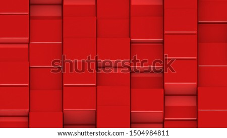 Grid of red cubes in a randomized pattern. Medium shot. 3D computer generated background image.