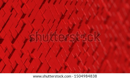 Grid of red cubes in a randomized pattern. Wide shot. 3D computer generated background image.