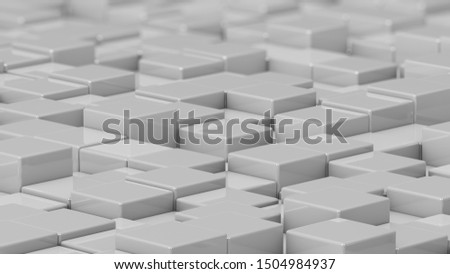 Grid of white cubes in a randomized pattern. Medium shot. 3D computer generated background image.