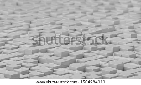 Grid of white cubes in a randomized pattern. Wide shot. 3D computer generated background image.