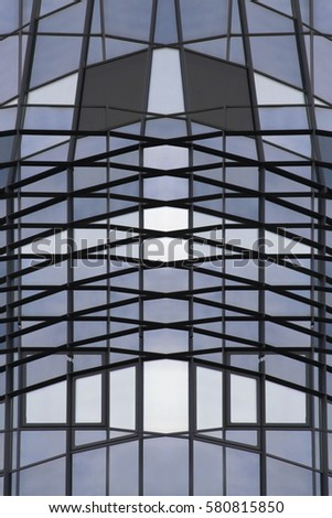 Grid structures. Reworked photo of modern building fragment with glass walls / structural glazing. Abstract contemporary architecture, industry or technology background in shades of blue color. #580815850