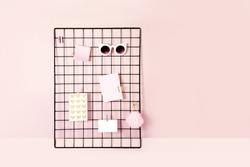 Grid Wall Organization with memos. Mood board.