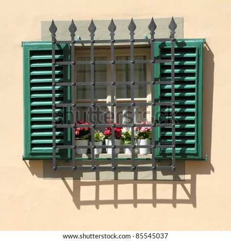 grid window with shutters  and metal grid protection - stock photo