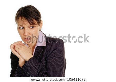 Grief Caucasian business female standing on white background
