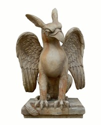 Griffin, gryphin, griffon or gryphon statue. Decoration antique stone art on isolated white background. Animal legend with eagle head and lion body