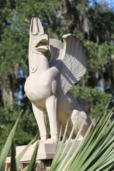 Griffin Mythological Creature Statue in Garden