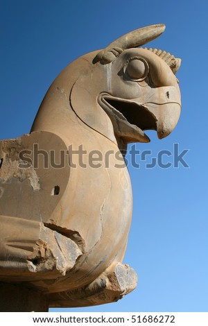 Griffin statue in an ancient city of Persepolis, Iran