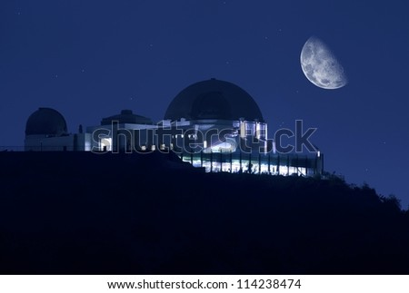 Griffith Observatory at Night. Clear Sky with Stars and the Moon. Science Photography Collection. Griffith Observatory Los Angeles, California USA.