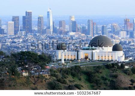 Griffith Observatory Park with Los Angeles Skyline at Dusk. Los Feliz neighborhood, Los Angeles, California, USA.