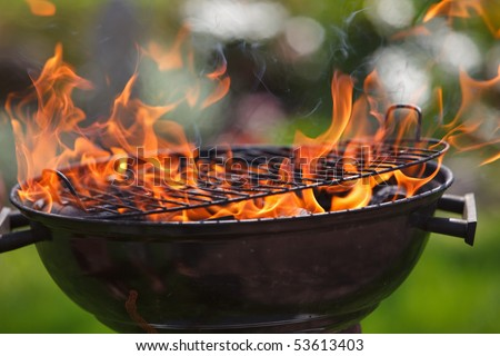 Grill in fames close-up