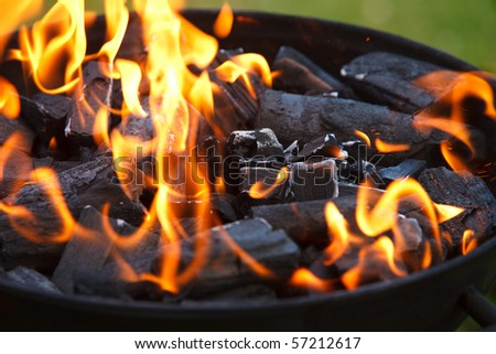 Grill in flames close-up