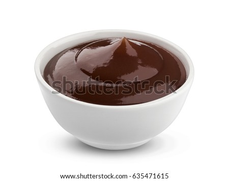 Grill sauce in bowl isolated on white background with clipping path #635471615