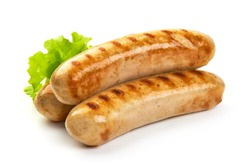 Grilled Bavarian sausages with green lettuce, isolated on white background