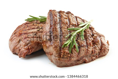 grilled beef fillet steak meat isolated on white background