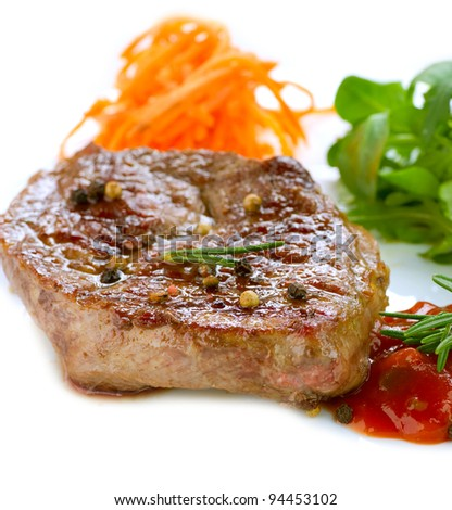 Grilled Beef Steak Isolated On a White Background