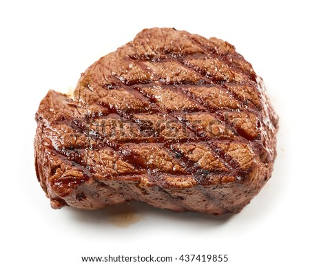grilled beef steak isolated on white background, top view #437419855
