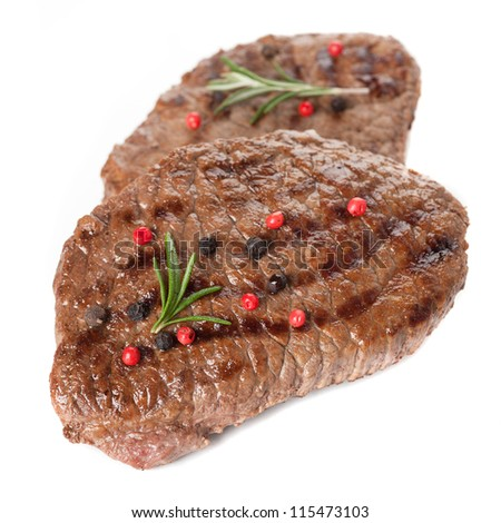 Grilled beef steak on a white background