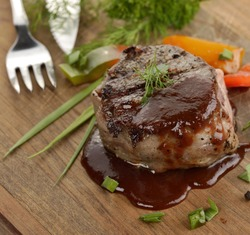 Grilled Beef Steak With Barbecue Sauce