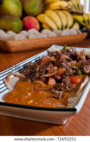 grilled beef tips and vegetables with chickpea stew
