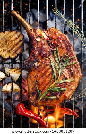 Grilled bone-in pork chop, pork steak, tomahawk in spicy  marinade  on a flaming grill plate, close-up, top view. Barbecue, bbq meat