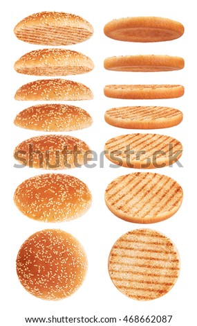 Grilled burger bun isolated on white background. Collection.