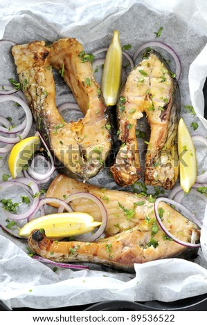 Grilled Carp on baking paper