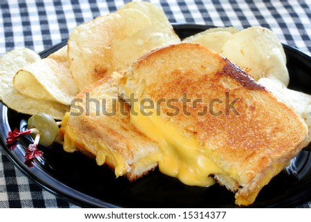 Grilled Cheese Sandwich and Chips