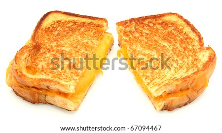 Grilled Cheese Sandwich Isolated On White Background