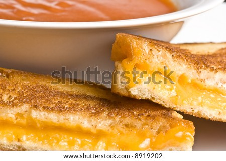 grilled cheese sandwich on a white plate shot with a macro lens