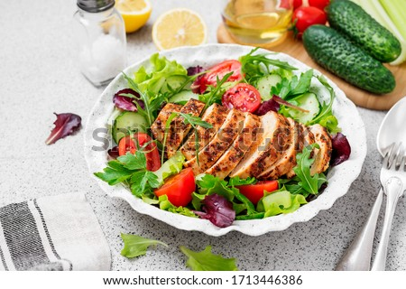 Grilled chicken breast, fillet and fresh vegetable salad. Healthy lunch menu.