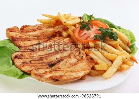 Grilled chicken breast with steamed vegetables. Delicious, low fat eating