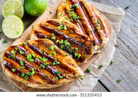 Grilled Chicken Breasts In Lime Sauce Stock Photo 351335453 ...