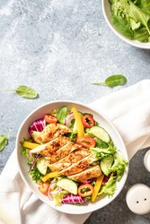 Grilled Chicken fillet with salad. Healthy food, keto diet, diet lunch concept