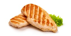 Grilled chicken fillet with tomato sauce, isolated on white background