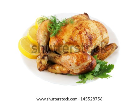 Grilled chicken in white plate isolated on white