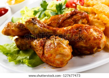grilled chicken legs with chips ...