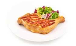 Grilled chicken legs with mix salad, bbq quarters, isolated on white background.