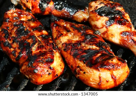 grilled chicken meat on the grill ready for eating