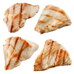 Grilled chicken meat pieces isolated on white. Collection