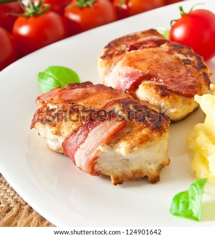 grilled chicken patties wrapped strips of bacon