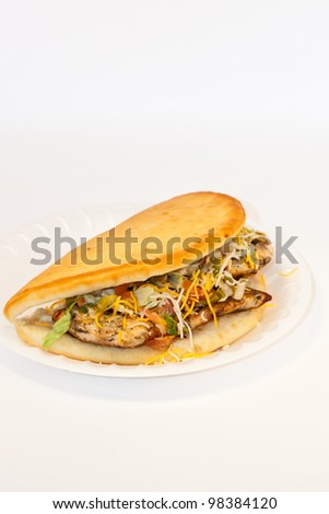 Grilled chicken sandwich with cheese