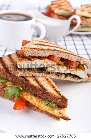 grilled chicken sandwiches and coffee