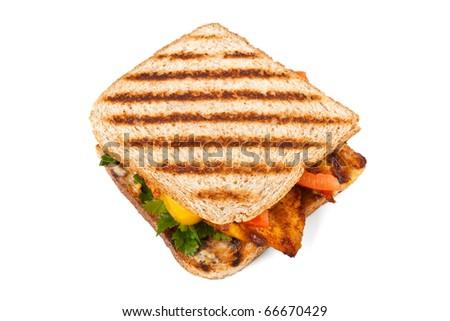 grilled chicken sandwiches on white background